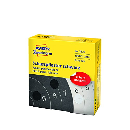 Avery Zweckform 3522 Schusspflaster (Ø 19 mm, vorgedruckt) 1 Rolle/1.000 Etiketten schwarz