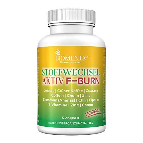 BIOMENTA Metabolismo Attivamente FATBURNER | con guarana + estratto di tè verde + caffè verde + caffeina + choline + cannella + bromelina + pepe di cayenna + pepe nero + vitaminas | 120 capsule
