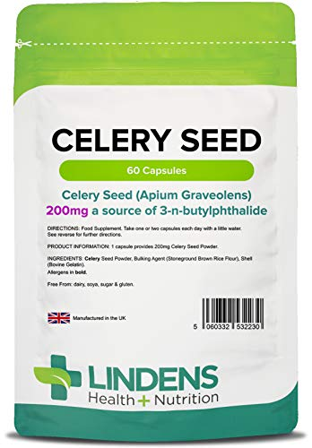 Lindens Capsule di semi di sedano da 200 mg   60 Confezione   200 mg di semi interi di apium graveolens in una capsula a rilascio rapido, facile da ingerire