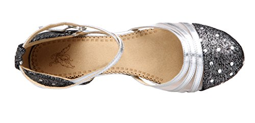 Honeystore Frauen's Funkelnde Glitzer Lackleder Heels Absatzschuhe Moderne mit Knöchelriemen Tanzschuhe Silber 37 EU - 2