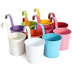 Asvert Macetas Colgantes 10 pcs Colores Inoxidables de para Flores y Plantas Colgantes para Jardín Patio Huerto Balcón