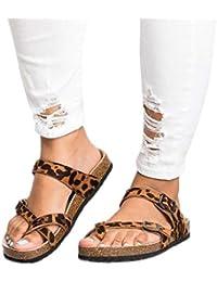 JiaMeng Sandalias Planas con Estampado de Leopardo Retro Zapatos de Playa  Zapatillas de Corcho con Suela 2999483dfacde