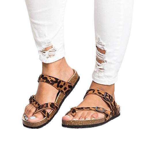 54027e18b7280 ABsolute Sandalias Sandalias Romanas Mujer Planas Planas con Estampado de  Leopardo para Mujer Zapatillas de Corcho de Suela Gruesa para Mujer Zapatos  de ...