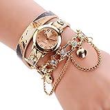 BaZhaHei Damen Uhren Frau Leder Strass Rivet Kette Quarz Armband Armbanduhr Lederarmband im Vintage Design Uhr (Beige)