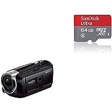 """Sony HDR-PJ410 - Videocámara (pantalla de 2.7"""", zoom óptico 30x, WiFi, NFC), negro + SanDisk Ultra - Tarjeta de memoria microSDHC UHS-I de 64 GB con adaptador SD, velocidad de lectura hasta 80 MB/s, Clase 10"""