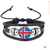 RUNFON pulsera bandera nacional pulsera trenzado con perla en diseño de bandera de Islandia para los Fans de fútbol recuerdos Rusia 2018