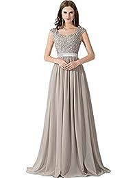 Babyonline® Damen Lang Masche Perlstickerei Chiffon Cocktailkleid  Abendkleid Ballkleider Mit Applique 9bb5c56b78