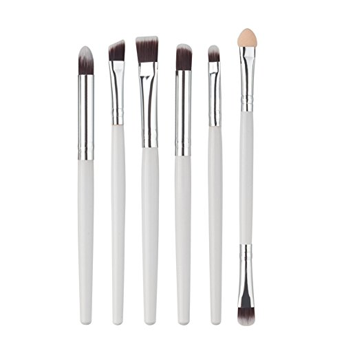 Scrox 1x (6pcs) Oeil Combinaison de pinceaux de Maquillage Cheveux en Nylon Multifonctionnelle Professionnel Outils de Maquillage-Blanc