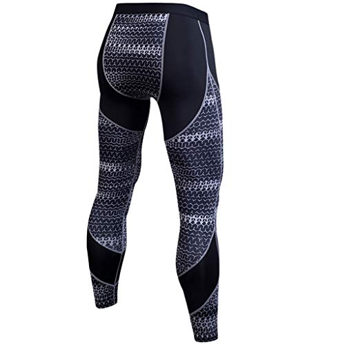 Herren Kompressionshose Cool Dry Sport Strumpfhose Baselayer Running Leggings Yoga Rashguard Fahrrad Outdoor Sport Tights M grau - Taille Unterstützung Strumpfhosen