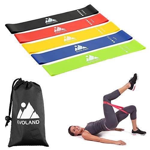 AGM Bandas Elásticas de Fitness, Bandas de Resistencia - Set de 5 Bandas para Mejorar Fuerza Crossfit Pilates Cinta Elásticas