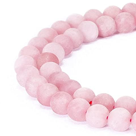 Magnifiques perles naturelles en agate, perles rondes en vrac pour fabrication de bijoux, rose quartz, 8 mm