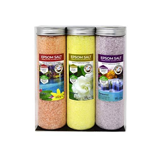 Nortembio Sels d'Epsom Pack 3 x 430 g. Fragances de Cannelle, Jasmin, Roses. Hydratés avec Vitamine C et E. Sels de Bain, Aromathérapie, Thérapies par Flottaison.