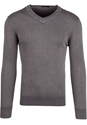 BOLF Strick Jacke Herrenpullover Streifen Hoodie Sweater Mix 1A1 Pulli Grau_B916