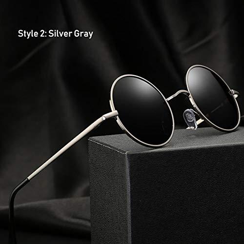 KHKJ Retro Classic Vintage Round Polarized Sunglasses Men Sun Glasses Women Metal Frame Black Lens Eyewear Driving