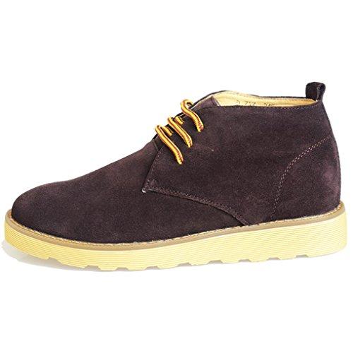 Heart&M souliers de travail occasionnel coupe haute lacets daim cuir chaussures Brown