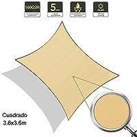 SUNLAX Vela de sombra cuadrado 3.6 x 3.6 metros, toldo resistente e impermeable, para exteriores, jardín, Color Arena