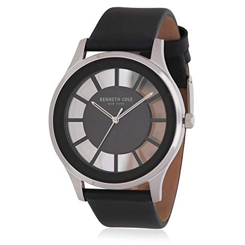 Kenneth Cole Men's Black Leather Band Steel Case Quartz Watch KC50500001