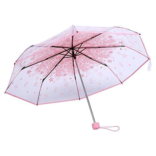 Zerodis 36cm transparent klar faltbar Sonnenschirm mit Kirschblüte Regen, Wind- und schwere, Rose