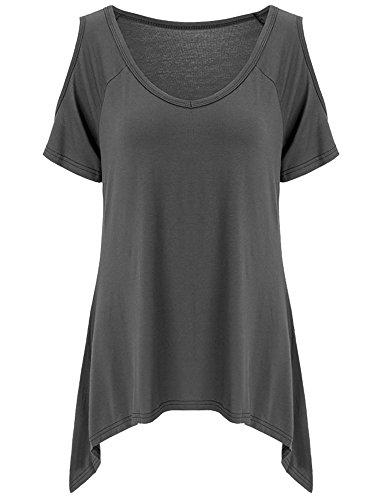 lymanchi Damen Schulterfrei T-Shirt V-Ausschnitt Asymmetrisch Kurzarm Tunika Top Bluse Dunkelgrau