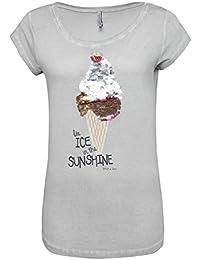 Stitch & Soul Damen Print-Shirt mit Wendepailletten Eis | Basic T-Shirt im Vintage Look mit weitem Rundhals-Ausschnitt