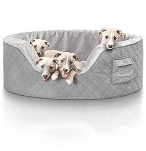Knuffelwuff panier chien, lit pour chien, coussin, corbeille pour chien Henry,fond en mousse de 5 cm, gris XXL 100 x 80cm