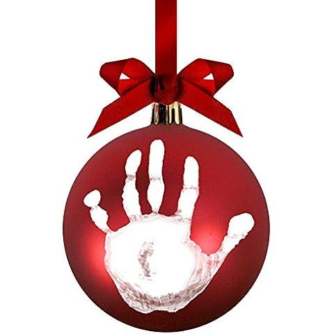 Pearhead 50017 Babyprints per Prendere da Te l'Impronta della Mano o del Piede Palla Ornamentale, Rossa