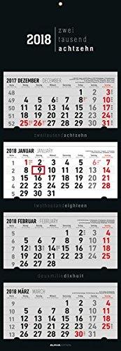 4-Monatskalender Black 2018 - Wandkalender / Bürokalender (34,5 x 100) - faltbar - mit Datumsschieber -