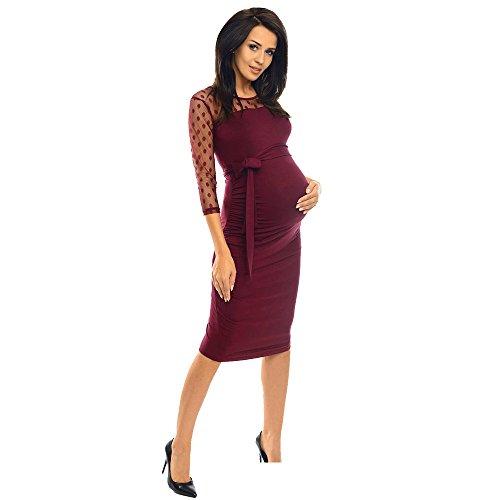 gere Pflege Kleid Frauen Mutterschaft Geraffte, figurbetontes Schwangerschaftskleid mit Polka Dot Spitze Wein XL ()