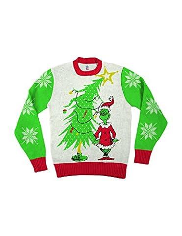 Dr Seuss Grinch As Weihnachtsmann Next To Tree Off-Weiß hässlich Weihnachten Sweater (Erwachsene X-Large)