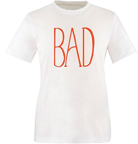 EZYshirt® BAD Herren Rundhals T-Shirt Weiss/Orange