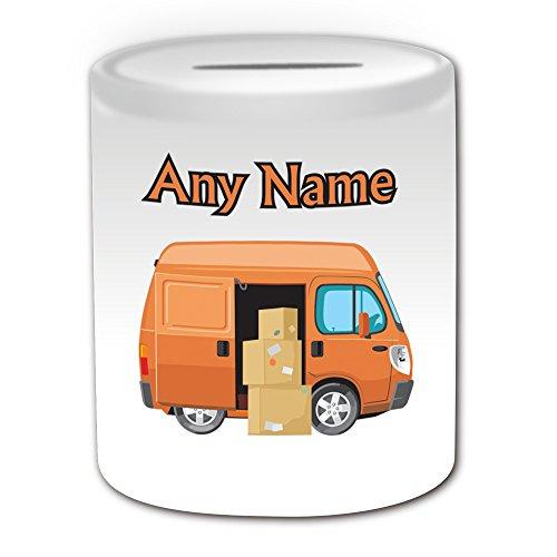 Personalisiertes Geschenk–Lieferung Van Spardose (Design Thema, weiß)–Für jede Nachricht/Name auf Ihrem Einzigartig–Treiber Fahrzeug Automarke LKW Truck Carrier Post Postbote Express Cargo (Penny-treiber)