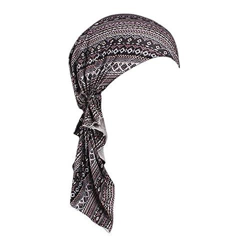 iShine Chapeau Féminin Elastique Musulman Islamique avec Motifs Imprimée Pendentif Frange Fichu Bandeau Foulard pour Perte de Cheveux Cancer Chimio anti Vent Chameau