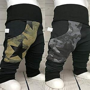 Baby Pumphose mit Tasche Camouflage Tarn handmade Puschel-Design