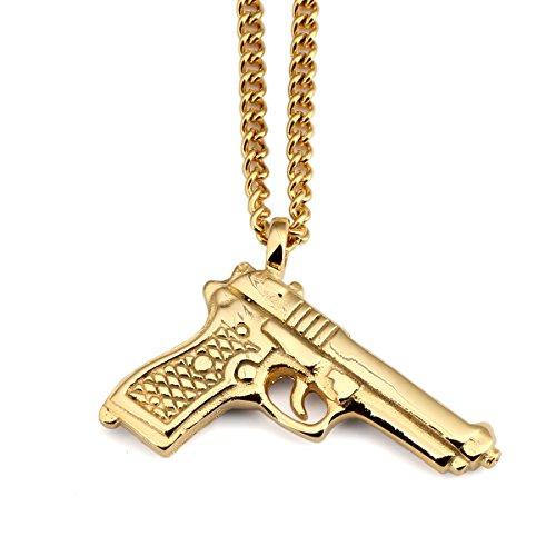 nyuk nuovo arrivo da uomo tendenza hip hop rap pistola Ciondolo collana, Lega, colore: Gold, cod. W-1921
