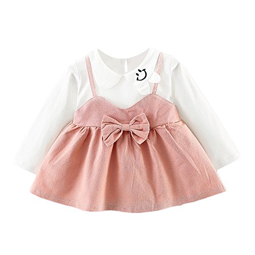 Neugeborene Spitze Prinzessin Kleidung Babykleidung Langarm Baby Junge Mädchen Kleider Prinzessin Kleider Dresses Weich Baby Strampler Mädchen Beiläufig Party Prinzessin Kleider LMMVP (Rosa, 6M)
