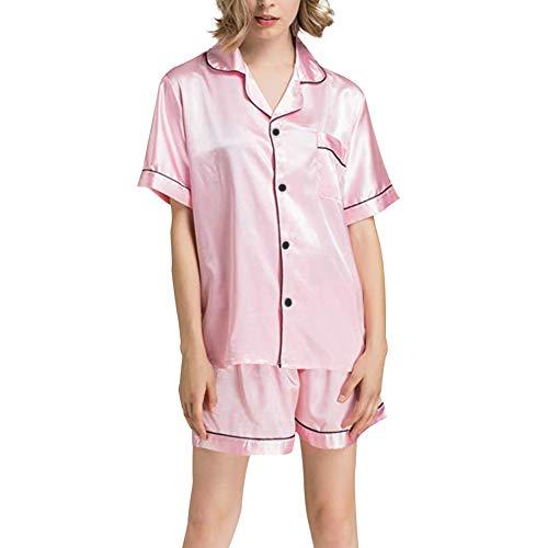 Ladieshow Damen Pyjama Set, Kurze Ärmel Satin Seide Button-Down Kurz Pjs Set Nachtwäsche Loungewear 2-teilige Pj Sets - Button-down Pj Set