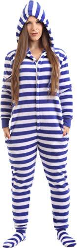 8c1f10e9f8 Funzee Nautish Strampler für Erwachsene mit Füssen Ganzkörperschlafanzug,  Overall Pyjama,.