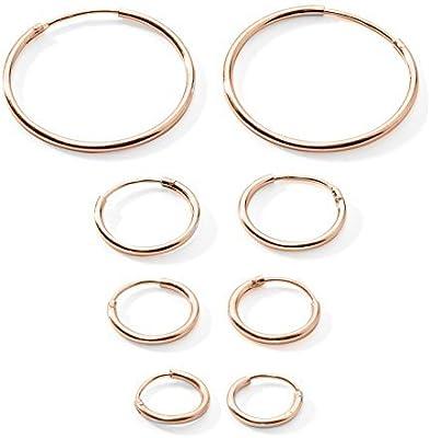 4-pairs Cartílago de la oreja/Nariz/labios Plata de Ley 925Tamaño pequeño Endless pendientes de aro 10mm, 12mm, 14mm y 20mm)