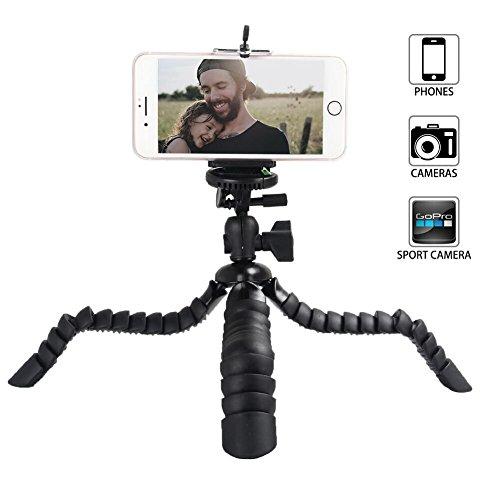 iPhone Stativ, Tairoad Handy Flexibel Stativ für Canon Nikon Sony DSLR Kameras + Gopro Action Kamera + iPhone/ Samsung/ LG Huawei Robustes Smartphone Stativ (Schwarz) (Handy-stativ-arm)
