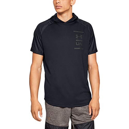 Under Armour Herren MK1 Terry SS Hood Oberteil, Schwarz, LG Long Sleeve Terry Sweatshirt