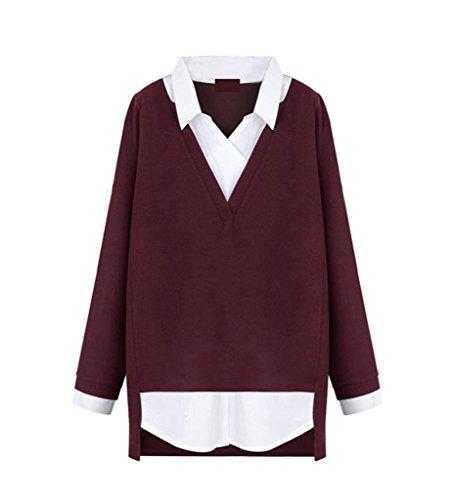 Meihuida - Top à manches longues - Décontracté - Femme Rouge - Rouge vin