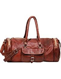 Original Leather 22 Inch Round Cum Gym Bag, Travelling Duffel Bags For Men/Women/Girls/men Craft 46 By NeoFeral
