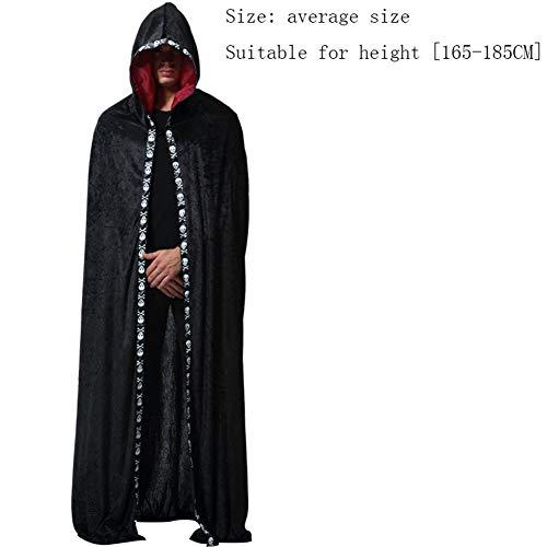 Für Ghost Cape Erwachsene Kostüm Black - Asdsda Halloween Adult Herren Mantel, Black Ghost Sorcerer Sänger Party Party Kostüm für Rollenspiele, Party, Halloween Requisiten