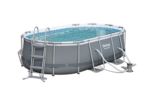 Bestway Power Steel Oval Pool Set 424x250x100cm  Ovaler Stahlrahmenpool-Set mit Filterpumpe