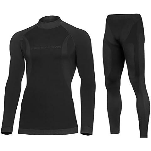 DRYtech Juego de ropa interior térmica activa y transpirable para hombre, ropa interior de esquí, motocicleta, mujer hombre, color Negro - negro, tamaño