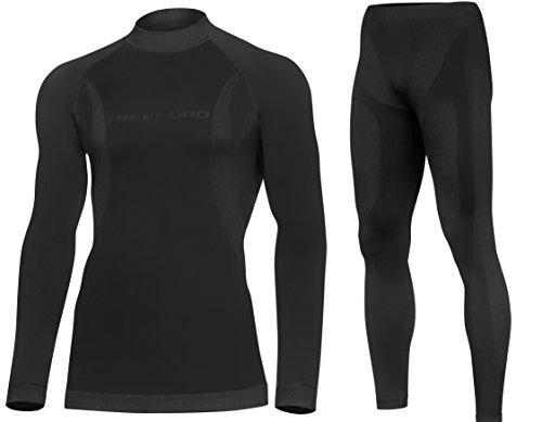 DRYTECH Herren Funktionsunterwäsche SET Thermoaktiv Atmungsaktiv Skiunterwäsche Motorradunterwäsche Laufbekleidung Ski Motorrad Outdoor (schwarz, L)