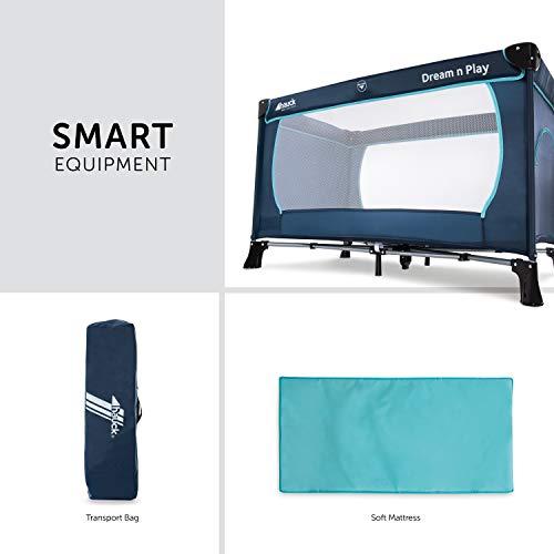 Hauck Kindereisebett Dream N Play Plus inklusive Matratze, seitlichem Reißverschluss, und Transporttasche, ab Geburt, tragbar, faltbar und klappbar, blau (navy aqua) 120 x 60 cm - 3