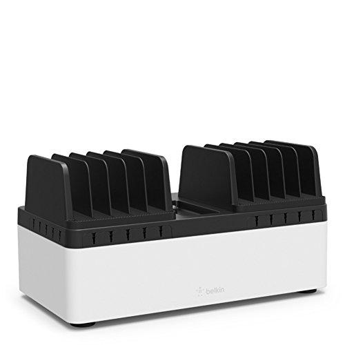Belkin Multi-Ladestation (für bis zu 10 Tablets oder Laptops mit festen Fächern) schwarz/weiß -