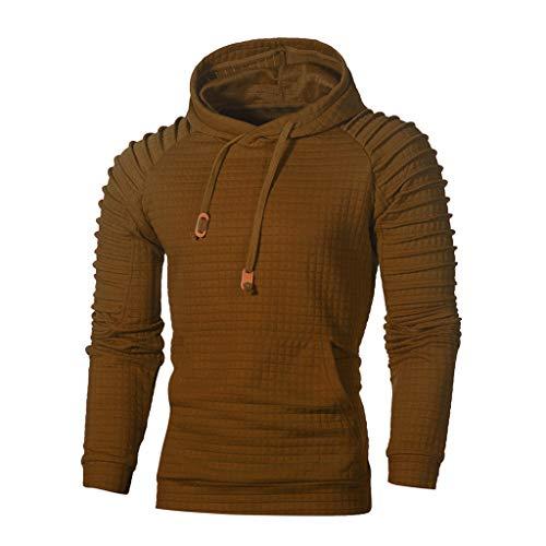 Xmiral Herren Sweatshirt Top Herbst Langarm Plaid Hoodie Mit Kapuze T-Shirt Outwear(XL,Kaffee)