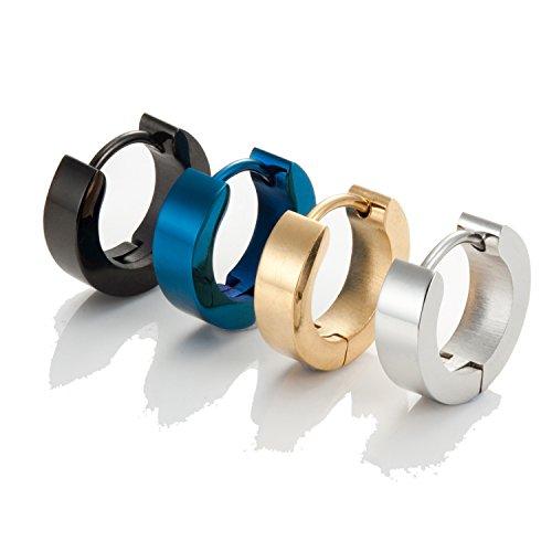 Set mit Herren 316L Edelstahl Klassische Huggie klappbar Ring Ohrringe - Inklusive 4 Paar Ohrringe für Männer - Schwarz, Blau, Gold und Silber Reifen für Männer (Ring Blau Männer)
